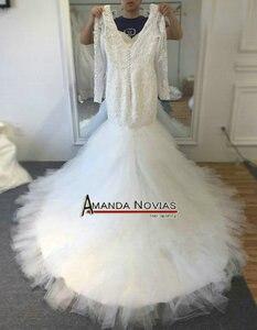 Image 3 - Новый дизайн красивое свадебное платье с бисером и юбкой годе с рукавами 2017