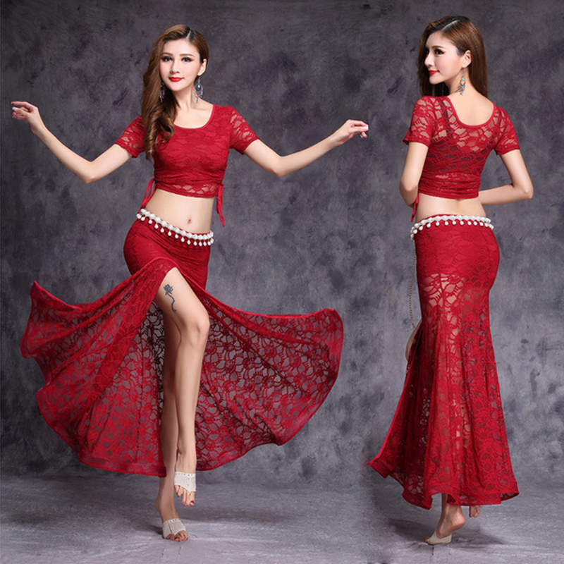 2018 Lace Bellydance Costume 3pcs Top&Skirt&Waist Chain New Model Hot Sale Women Belly Dance Suits  Performance Wear Long Skirt