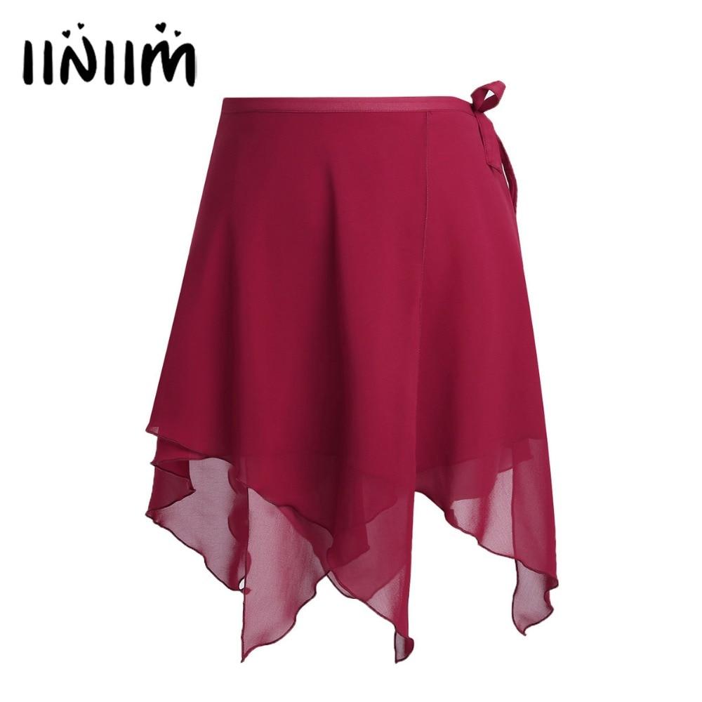 Women Asymmetric Tutu Skirts Chiffon Professional Ballet Dancewear Ballet Wrap Skirt Dance Skate Wrap Over Scarf With Waist Tie