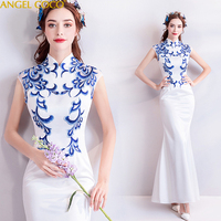 5206483396142 White Satin Blue Embroidery Mom Evening Dress Fashion Elegant Mother Of The  Bride Dresses Godmother Dresses