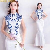 White Satin Blue Embroidery Mom Evening Dress Fashion Elegant Mother Of The Bride Dresses Godmother Dresses Mutters Kleider 2019