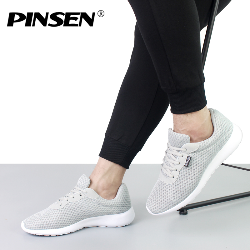 PINSEN Shoes Men Sneakers Fashion Summer Shoes Men Lace-up Mesh Outdoor Breathable Lover Casual Shoes zapatillas hombre 36-44 pinsen 2017 summer women flat platform sandals shoes woman casual air mesh comfortable breathable shoes lace up zapatillas mujer
