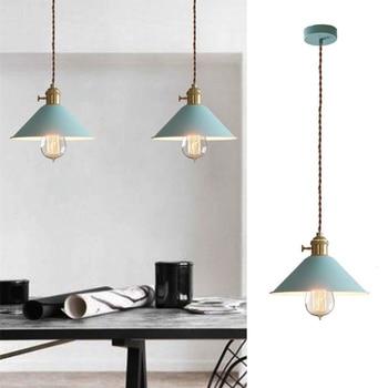 Kitchen Island Pendant Light Blue Metal Lighting Fixtures Bedroom Lights Office Modern Ceiling Lamp Bar Pendant Lamp Free Bulb