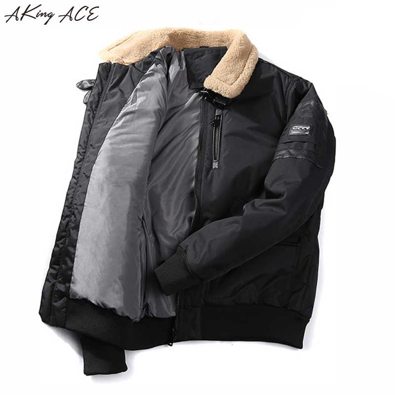 2017 AKing ACE Winter Bomber Army Jackets for Men Thermal Parka Thick Cotton Padded Jacket Collar Fleece Coat Male ZA317 45 burons letters