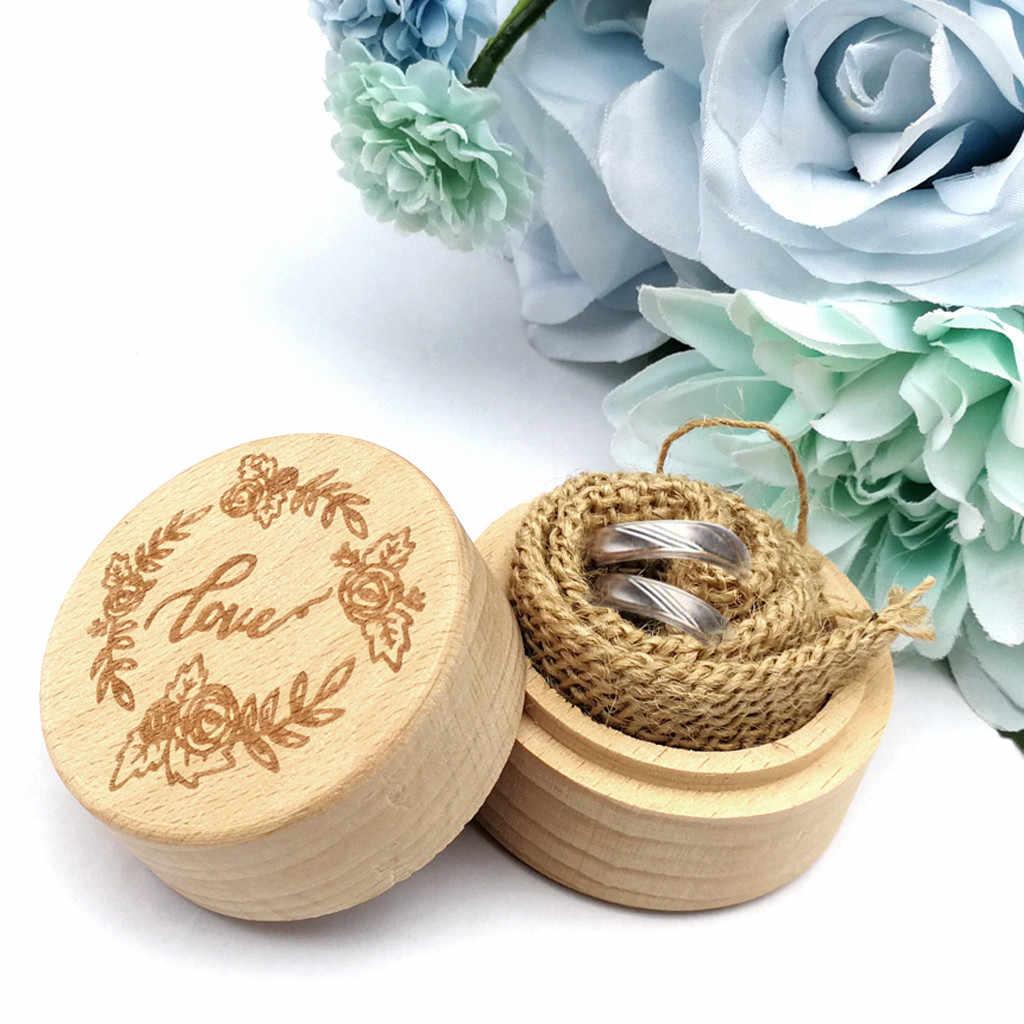 Kotak Cincin Pernikahan Kotak Kayu Cincin Penyimpanan Cincin Organizer Pesta Pernikahan Aksesori Alat Rumah Tangga Alat Yang Berguna DROP Shipping # O