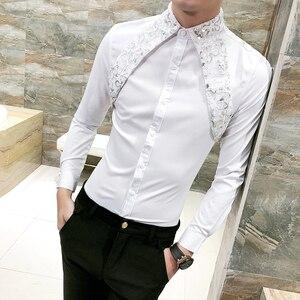 Image 3 - Sıcak erkek gömlek Slim Fit uzun kollu 2020 bahar smokin gömlek erkekler seksi dantel Patchwork rahat parti elbise gömlek Mens siyah/beyaz
