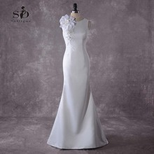 Flowers Mermaid Wedding Dress With Delicate Appliques White/Lvory Buttons Bridal Fast shipping