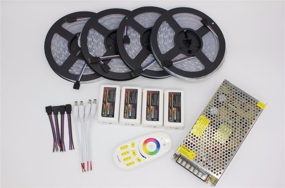 20 m RVB LED bande 5050 Flexible lumière LED 50 LED s/m + 4 pièces 4-Zone Contrôleur + télécommande LED + 12 V 15A kit d'alimentation