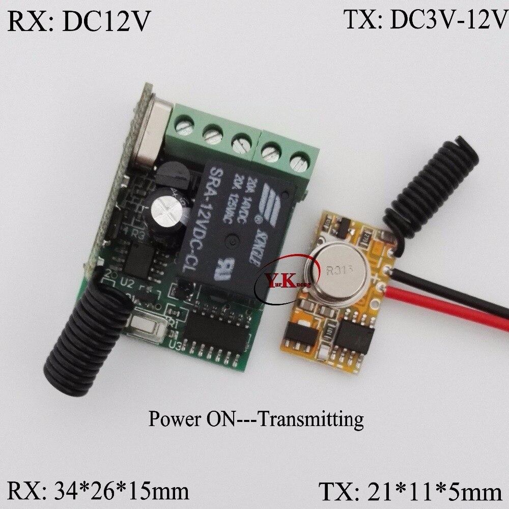 DC12V 10A Mini Receiver Remote Controller + EV1527 Micro Transmitter PCB Power ON Transmitting Signal 315/433 No need Press TX