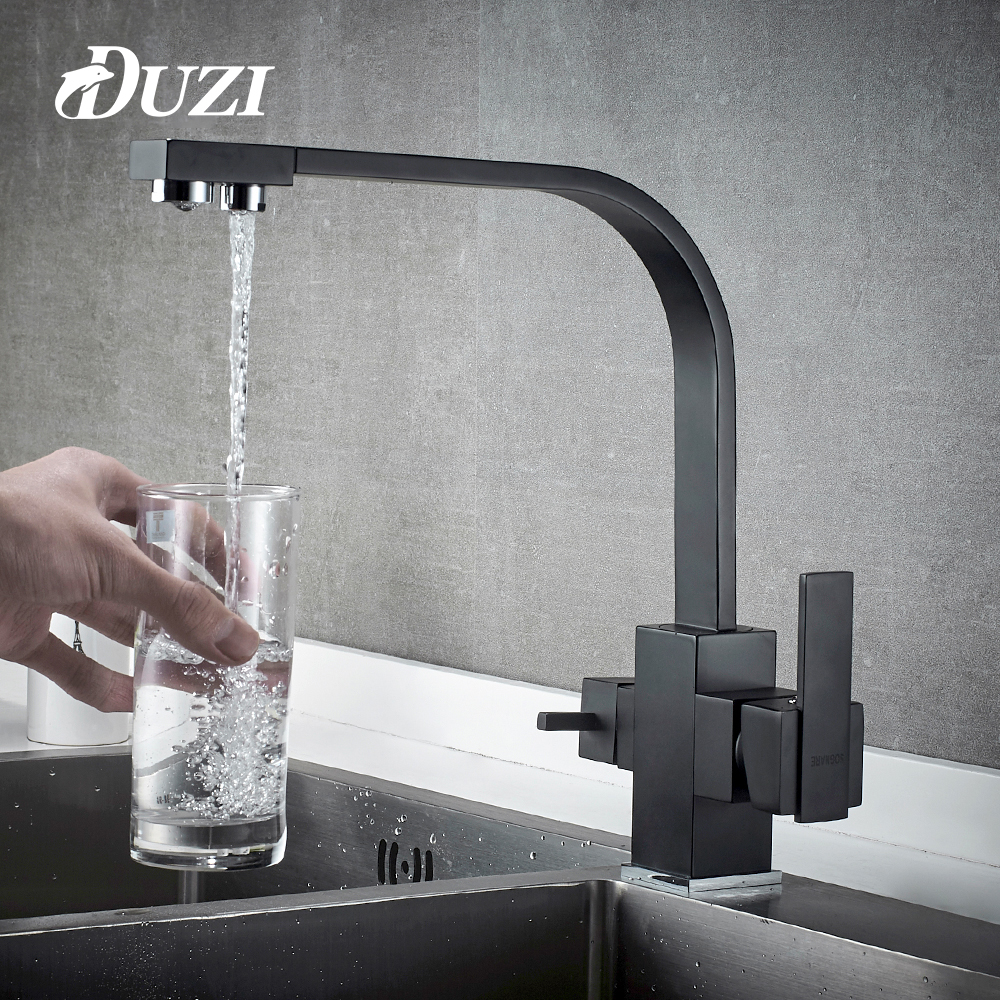 DUZI Drinking Water Filter Faucet Black Square Kitchen Sink Tap 360 Degree Rotation 3 Way Water