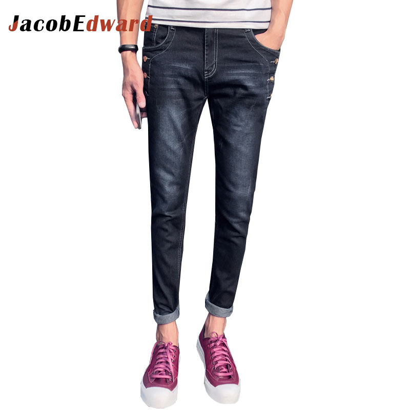 Fashion Casual Men's Jeans Black Blue Denim Trousers 2017 Winter Skinny Men Plus Size Male Pants