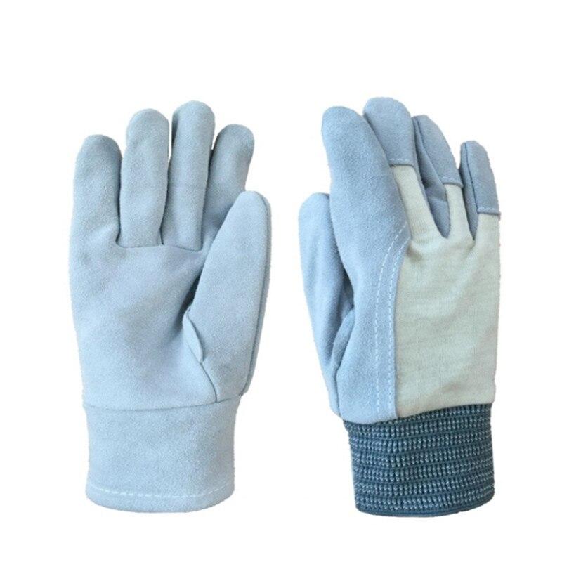 Cowhide Labor Insurance Antiskid Welding Paragraphs Short Handling Cutting Gardening Thin Canvas Gloves