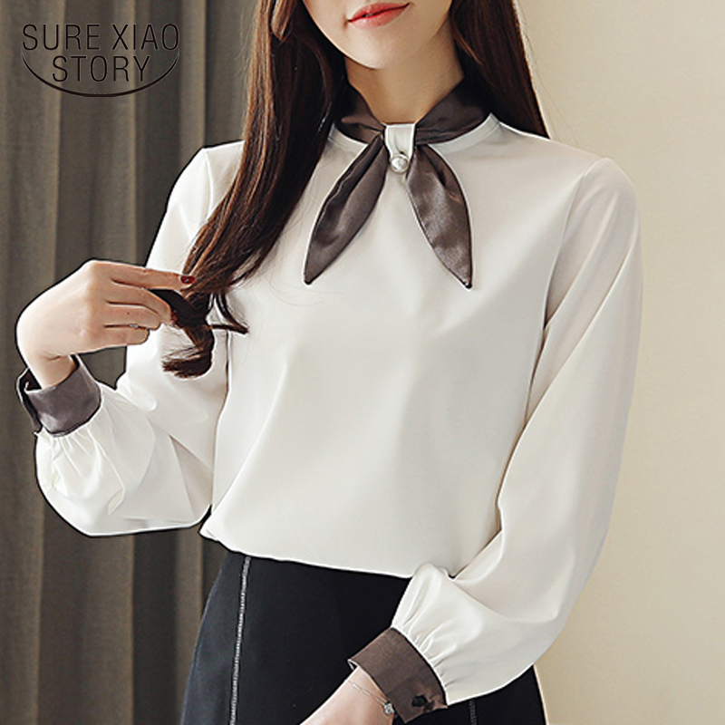 fashion womens tops and blouses chiffon blouse shirt bow collar office white blouse women long sleeve women shirts blusa 1968 50