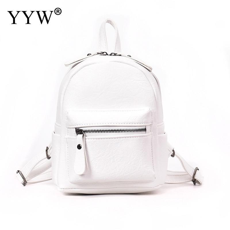 YYW Women Backpacks Fashion Pu Leather Back Packs For Teenage Girl Mini Daypack Female Zipper Concise School Bag Mochila Escolar