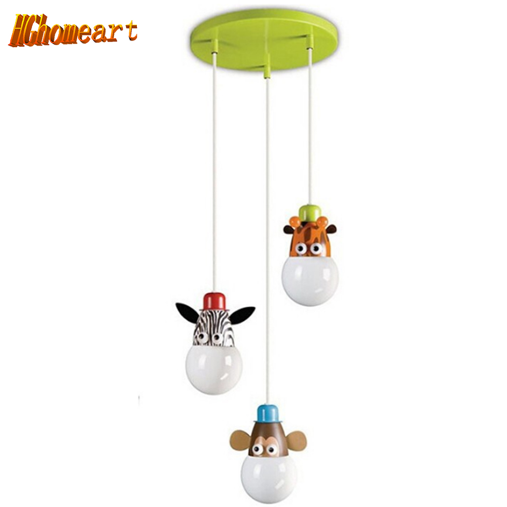 Hghomeart Novelty Lovely 3 Lights Pendant Light Kids Bedroom Cartoon Animal Giraffe/Monkey/Zebra E27 Bulbs AC 110-240V Free Ship детские кроватки forest lovely giraffe качалка