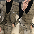 Fall Winter Men Plaid Blazer Plus Size 4XL 5XL Khaki Grey Blue Black Groom Wedding Dress Suit Costume Homme Ternos Slim Fit