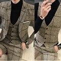 Otoño Invierno Hombre Plaid Blazer Plus Tamaño 4XL 5XL de Color Caqui Gris azul Negro Vestido de Boda Del Novio Traje Traje Homme Ternos Slim Fit
