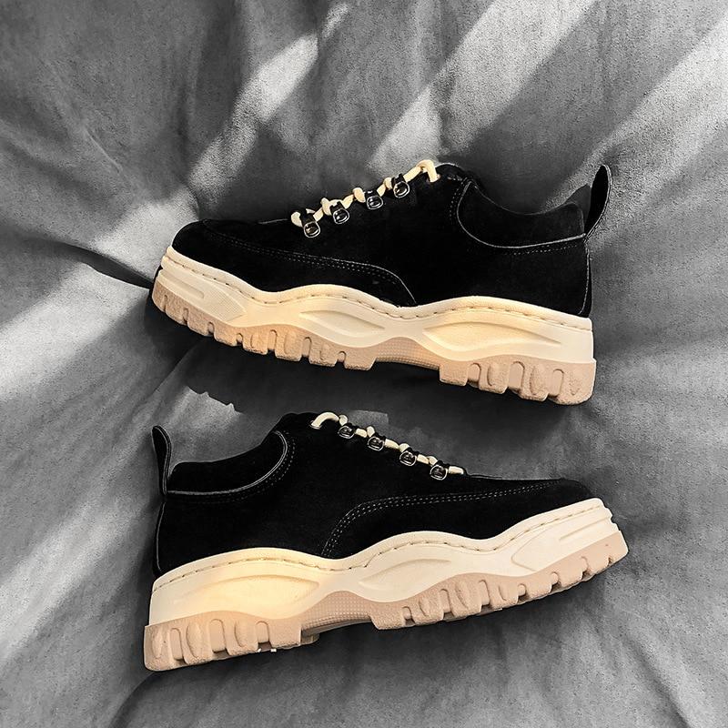 Preto Fundo Não deslizamento Sapatos De Grosso Homens Altura Casuais Aumento Dos Da O amarelo Outono Com Confortáveis BqBZFgnw