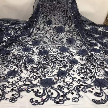 African Lace Fabric 2019 High Quality Sequins/3d Flower Lace Fabric Embroidery tulle lace For African Bridal dress 5yards/lot