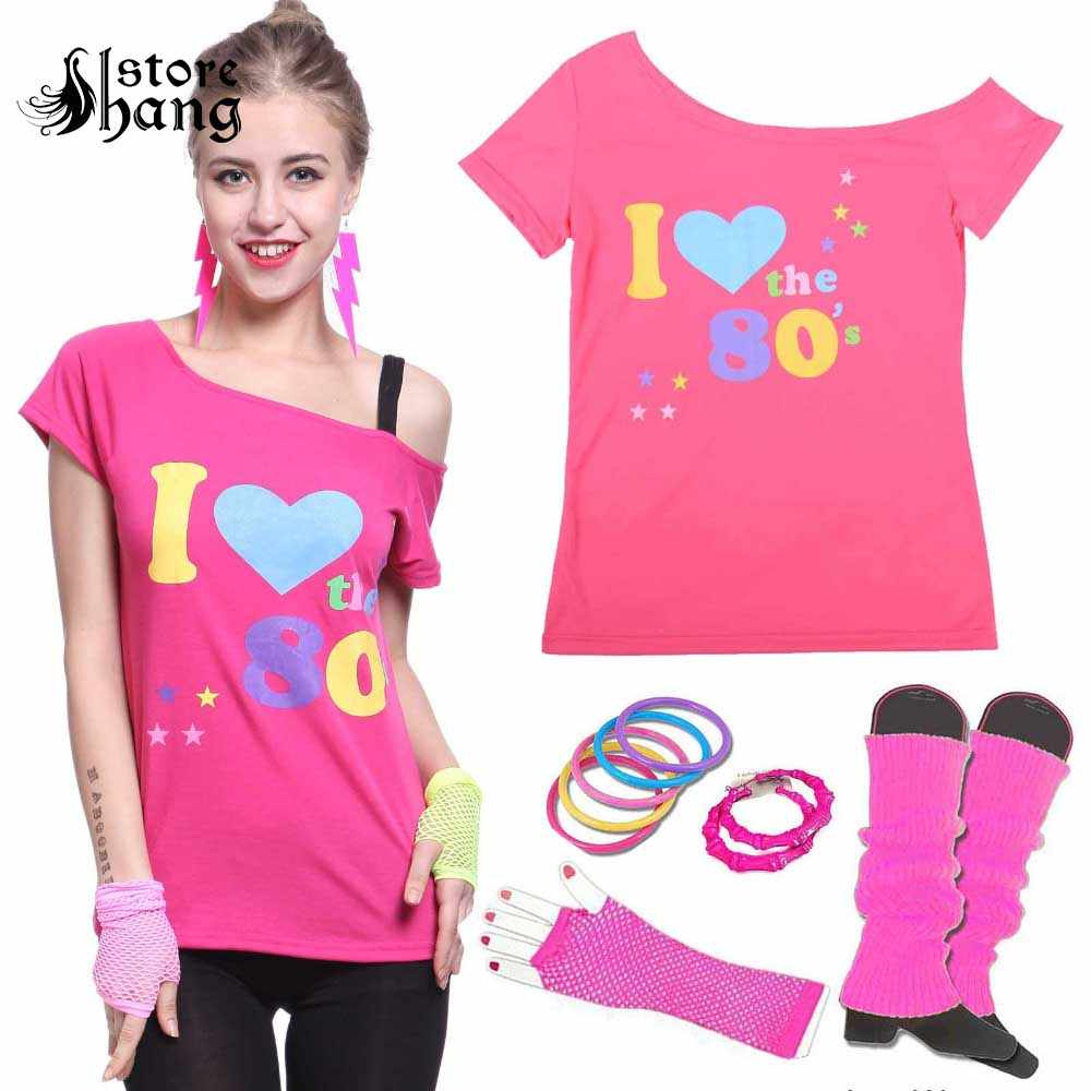 2cbbcfdd0c8 Women s I love 80s Costume Outfit 1980s Retro Disco T-shirt with 6pcs  Accessories Rock