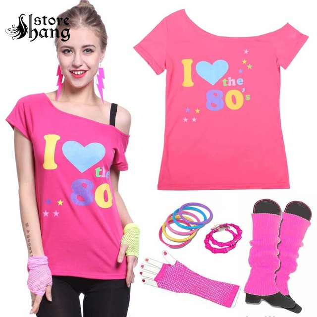 Women s I love 80s Costume Outfit 1980s Retro Disco T-shirt with 6pcs  Accessories Rock N Roll Party Fancy Dress Novelty Gift 1301796f555f