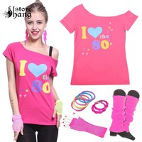 Women's I love 80s Costume Outfit 1980s Retro Disco T shirt with 6pcs Accessories Rock N Roll Party Fancy Dress Novelty Gift