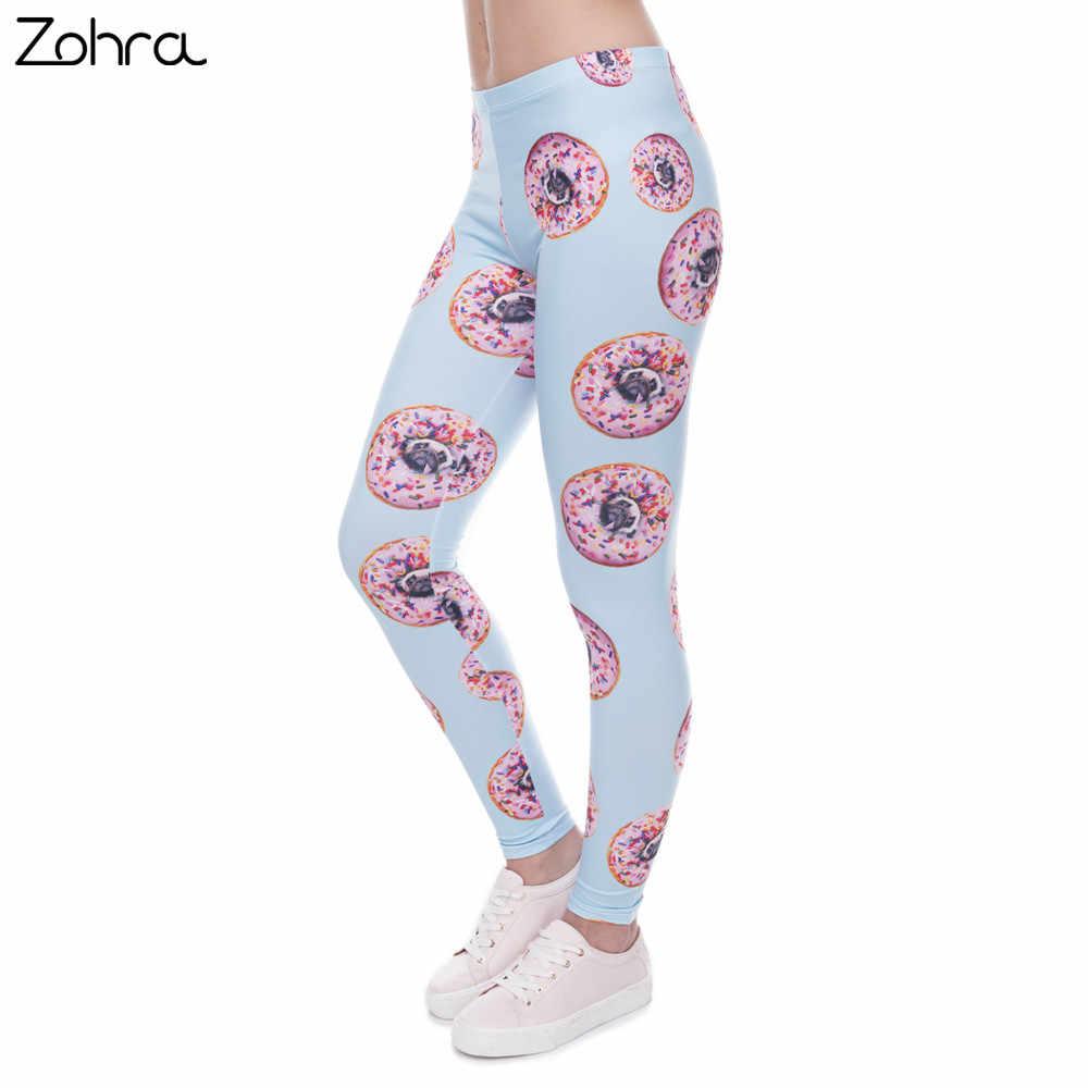 e27b7fc6ab315 Zohra New arrival Women Leggings Trousers Donuts with pugs Print Legging  Blue Leggins Slim High Elasticity
