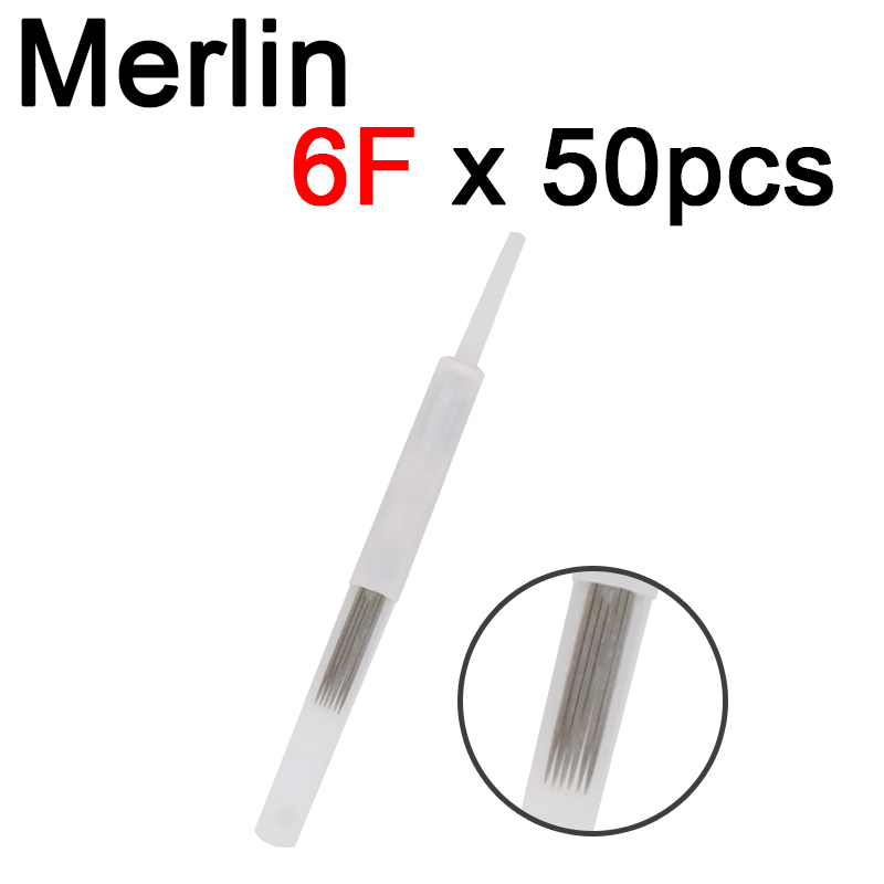 50Pcs 6F 6 Pins Flat Blade Needles For Merlin Machine Permanent Munsu Makeup Accessories Beauty Tattoo Supplies Micro Blading