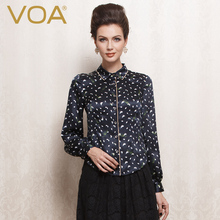 VOA Long Sleeve Polka Dot Pure Silk Women Shirt Formal Turn-Down Collar  Blouse B1069 Custom Fit