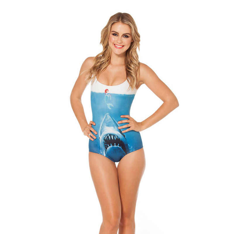 d8742ed53844b NEW Sexy Girl Summer Jaws Shark Mermaid Sea-Maid 3D Prints One Piece Suit  Sleeveless