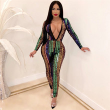Women Sexy Deep V Neck Elegant Sequin Jumpsuit Long Sleeve Bodycon Bandage Night Club Party Glitter Romper