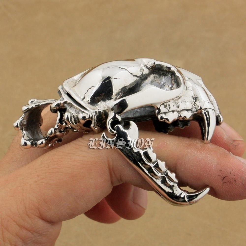 925 Sterling Silver Ogroman težak tenk Fang Tiger Lion King Lubanja - Modni nakit - Foto 3