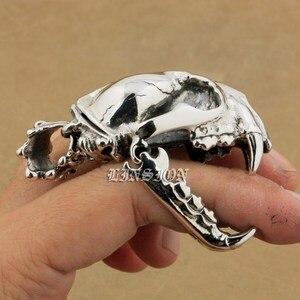 Image 3 - 925 argent Sterling énorme lourde défense Fang tigre Lion roi crâne hommes garçons Biker Rock Punk pendentif 9T024 juste pendentif