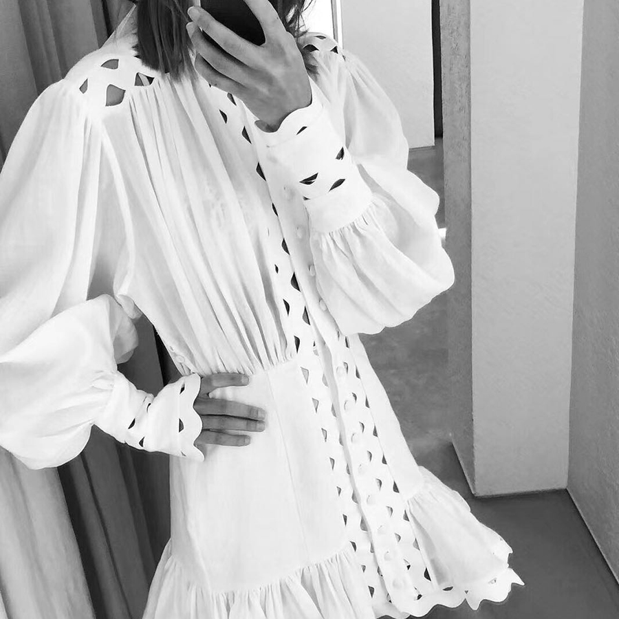 2019 Summer New Solid White Women Dress Turtleneck Lantern Sleeve Hollow Out Draped Dress Patchwork Ruffles