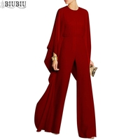 BIUBIU Chiffon Women Jumpsuits Office Lady Loose Pants Queen Romper Elegant Party Bodysuits Solid O neck Hollow Out Playsuits