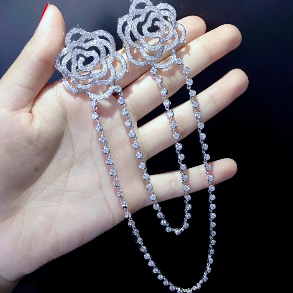 double flowers with chain brooch 925 sterling silver with cubic zircon camellia or rose flower brooch