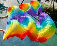 يضرب 2017 جودة عالية بيع اليدوية النساء الرقص الشرقي مروحة الحرير الرقص 100% ريال الحرير الحجاب 1 زوج rainbow الألوان 180*90 cm