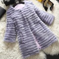 Women's Stripe The Coat Mink Fur Long Winter Natural Mink Fur Coats For Women Luxurious Jacket Real Fur Coat Mink 20140107-2c