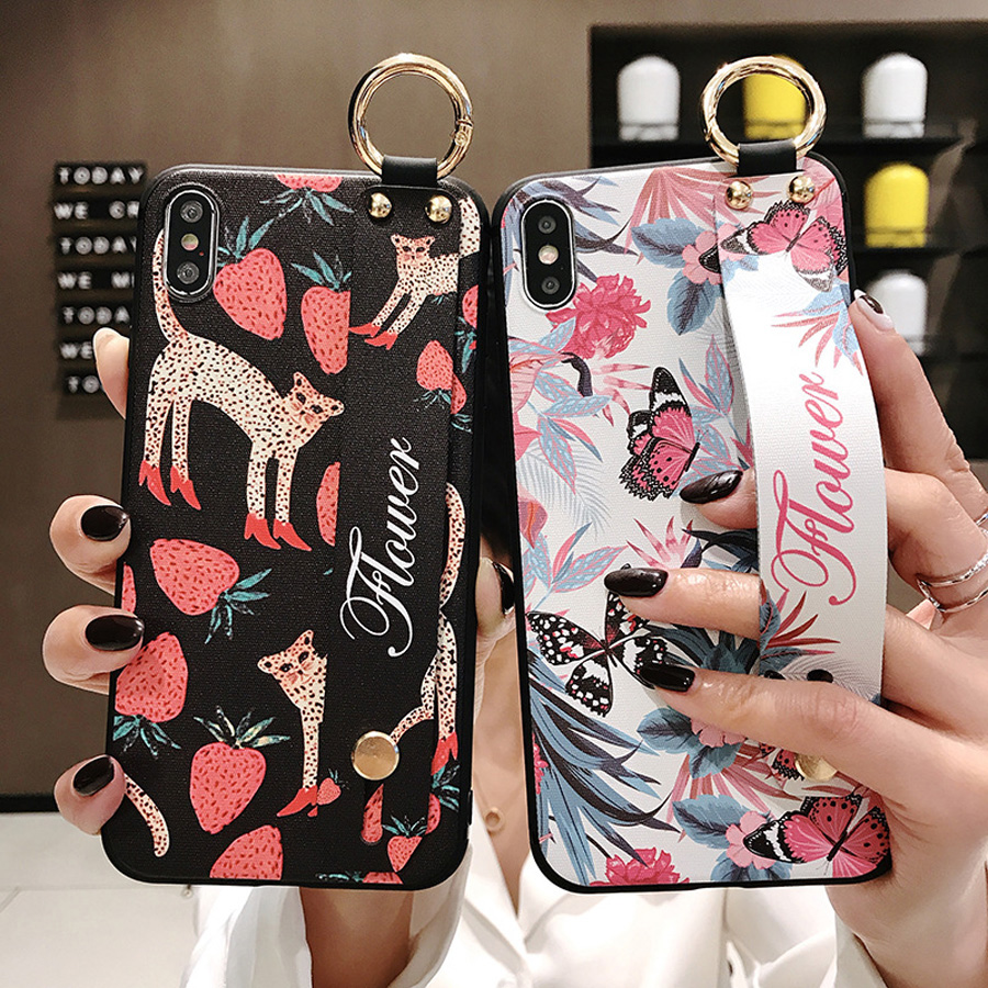 flower wristband shoulder strap silicon case for iphone X XR XS MAX 6 6S 7 8 plus case cover fashion floral holder soft phone ba in Fitted Cases from Cellphones Telecommunications