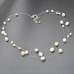 ASHIQI многослойные белый из натурального барочного жемчуга колье цепочки и ожерелья для женщин простой стиль ручной работы DIY Свадебная