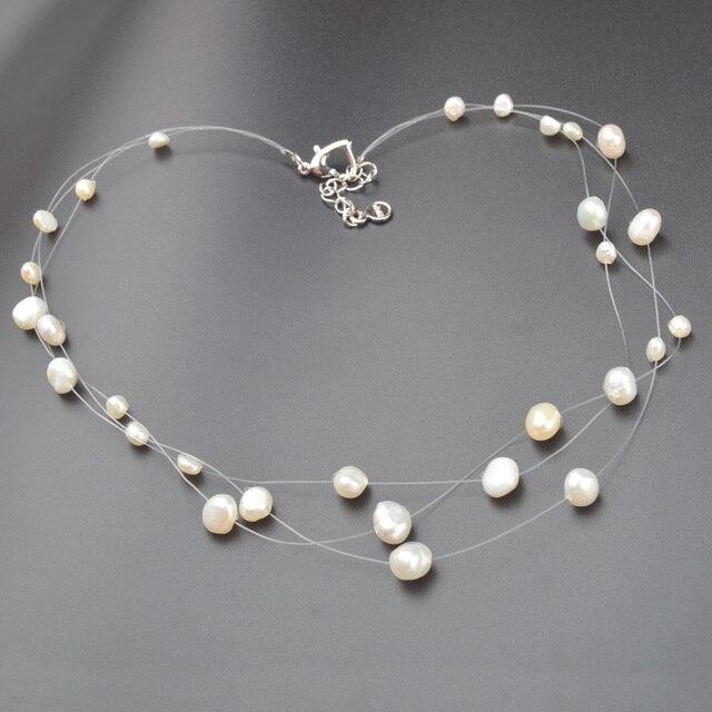 ASHIQI multicapa blanco Natural de perlas estilo barroco collar gargantilla para mujeres estilo Simple a mano hecho a mano DIY boda joyería de la joyería de regalo