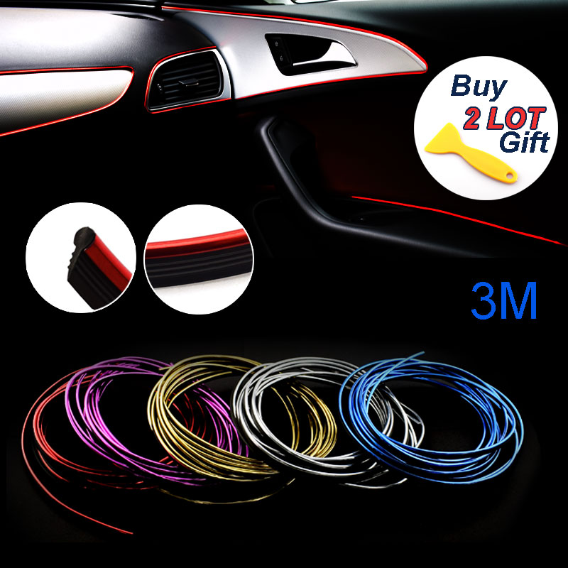 3M Car-Styling Interior Decoration Thread Car Sticker Car Styling Insert Type Air Outlet Dashboard Decoration Strip Accessories