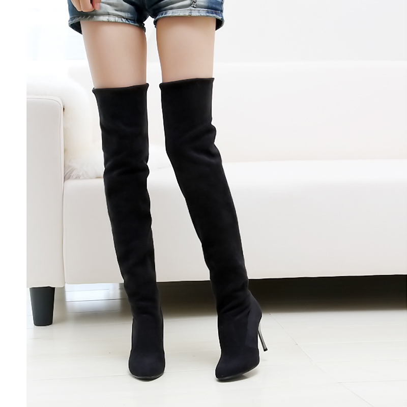 Lotus Jolly Sexy Women Thigh High Boots Over The Knee Classic Ladies Fur Shoes Woman 7.5cm Thin Heels Mujer Zapatos Botte Femme hot fashion spring over the knee boots sweet buckle denim women boots sexy pointed toe thin high heels shoes woman zapatos mujer