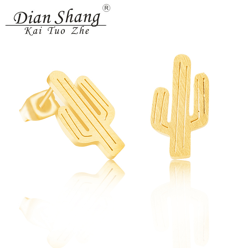 Wholesale 10Pair Stainless Steel Bijoux Femme Cactus Stud Earrings Women Men Fashion Boho Jewelry Summer Plant Charm Earring
