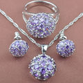 Wanderful Purple Amethyst Zircon Women's 925 Silver Jewelry Sets Necklace Pendant Earrings Rings Free Shipping TS037