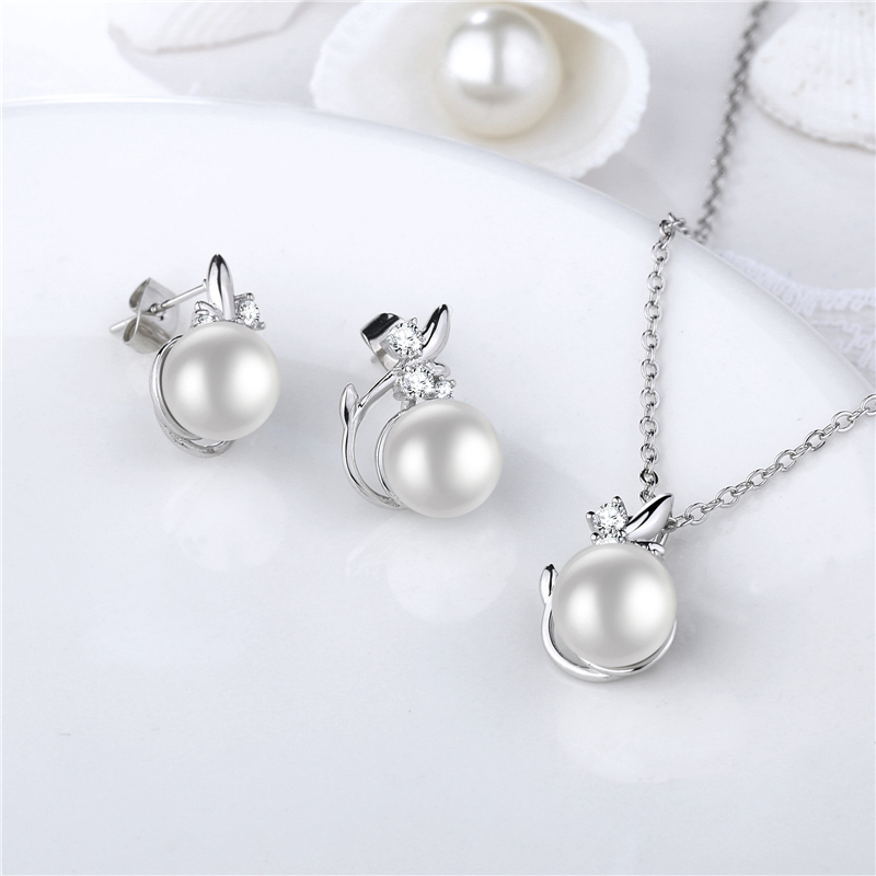 ROXI Leaf Shape Simulated Pearls Jewelry Set for Women Silver Color Crystal Wedding/Bridal Necklace Earrings Ladies Jewellery z3