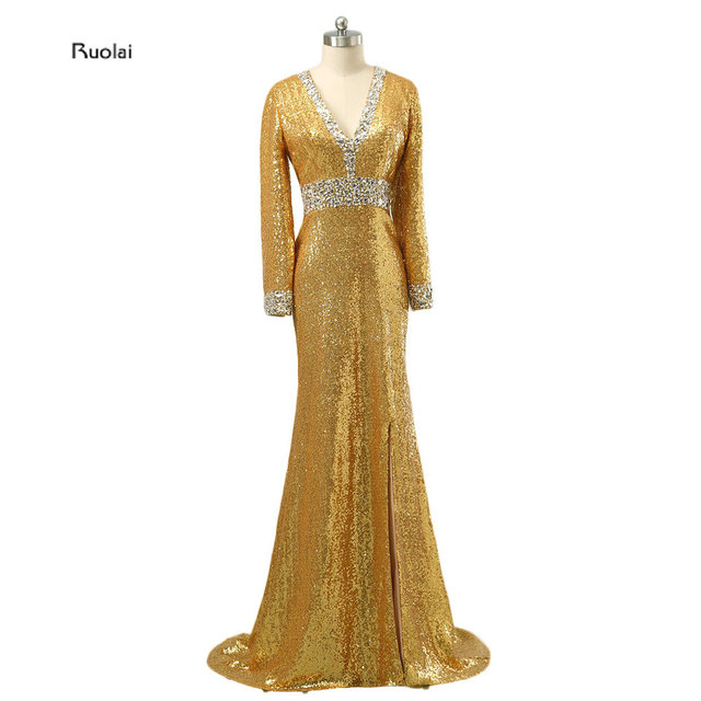 591a8b8668ba 2017 New Arrival Charming Gold Sequined Long Sleeves Muslim Evening Dresses  V-Neck Long Evening Gown Split Side Custom Made