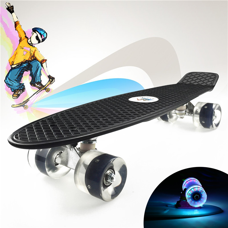 "Image 3 - Pastel Simple Color 22"" Style Skateboard Child Cruiser Mini Plastic Fish Skate Long Board With Shining Wheels-in Skate Board from Sports & Entertainment"