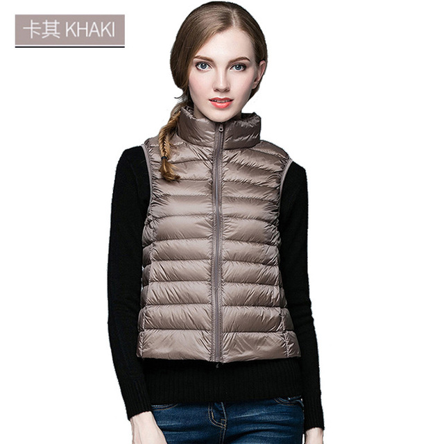 Autumn winter New Korean version of the sleeveless vest white duck down jacket Slim short down jacket winter ladies jacket vest