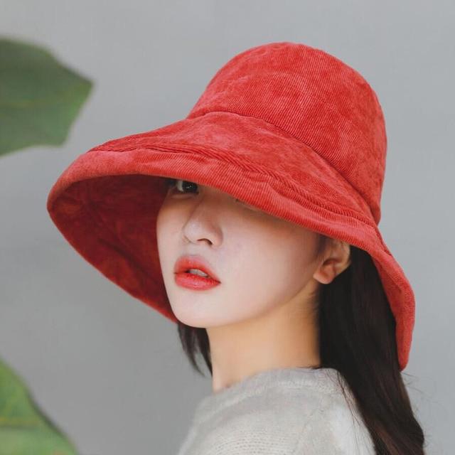 af74603cbb0a9 New Autumn Winter Corduroy Big Brim Bucket Hat For Women Solid Color  Fisherman Cap Female Casual